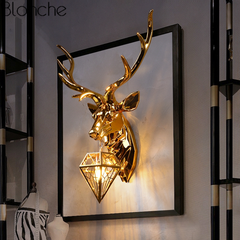 American Retro Wall Lamp Gold Deer Antlers Wall Sconce for Living Room Bedroom Bedside Led Home Decor Light Luminaire Fixtures|LED Indoor Wall Lamps| |  - title=