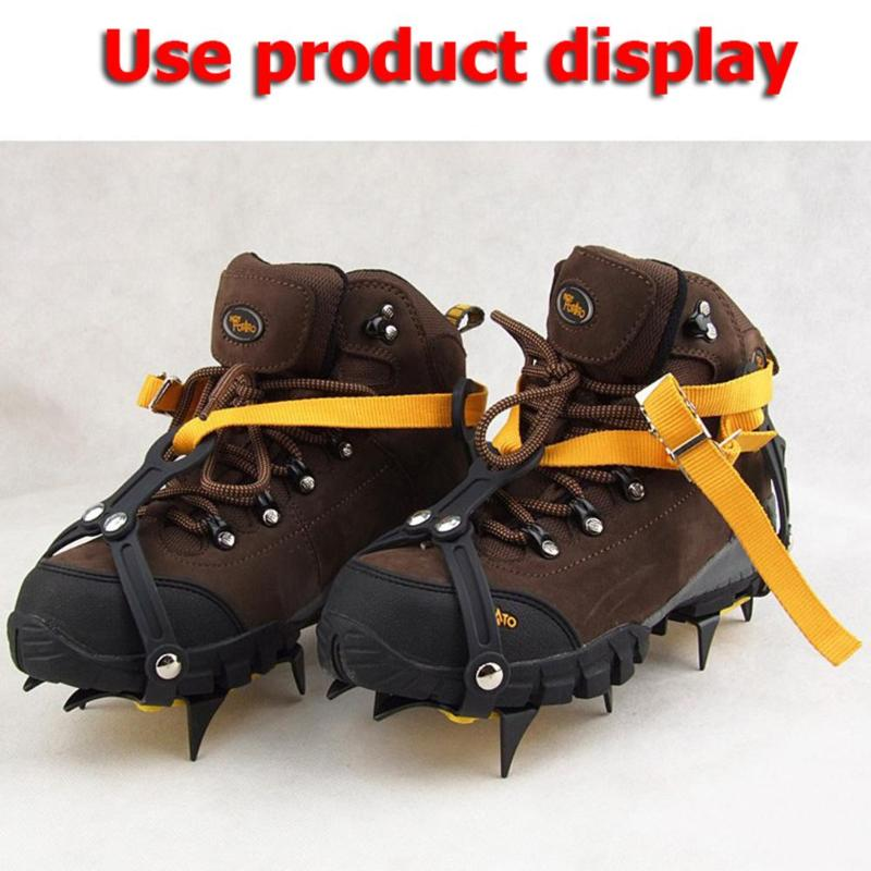 10 Studs Anti-Skid Crampon Stainless Steel Snow Ice Climbing Shoe Spikes Grips Crampons Size Adjustable Cleats Overshoes