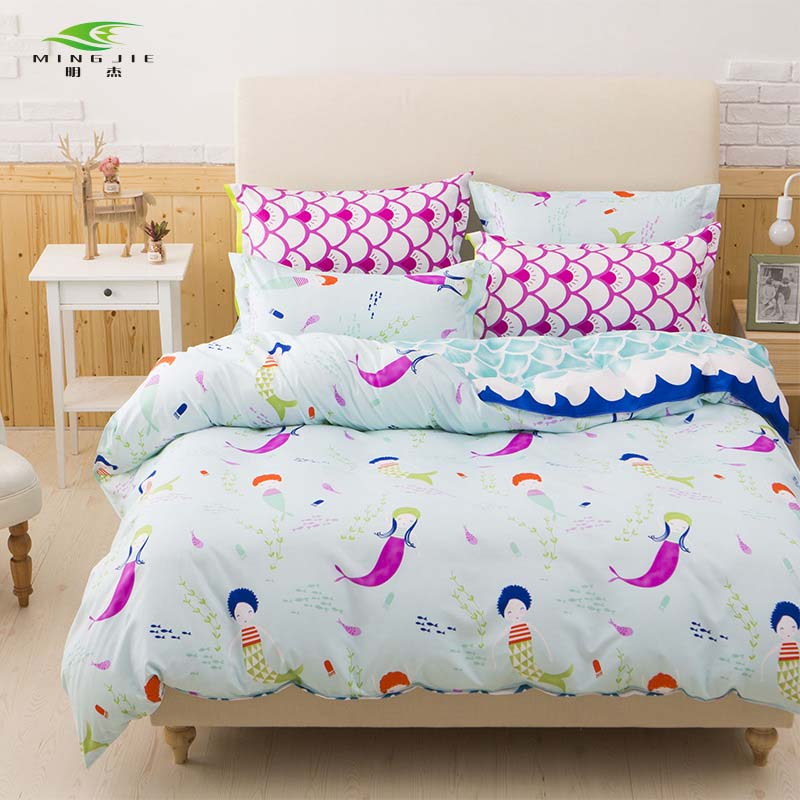 NEW 3/4 PCS Pink Bedding Sets for Girls Cute Mermaid and Scales Pattern Printed Comforter Duvet Cover Set Pillow Cases Bedlinen