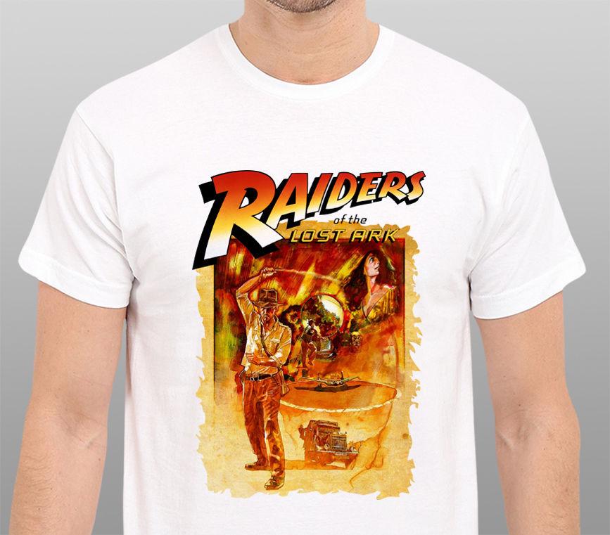 Fun T Shirts Gildan Fashion <font><b>Indiana</b></font> <font><b>Jones</b></font> <font><b>Raiders</b></font> <font><b>Of</b></font> <font><b>The</b></font> <font><b>Lost</b></font> Ark Vintage Movie Art Design T Shirt Hipster Tops Cool Tees