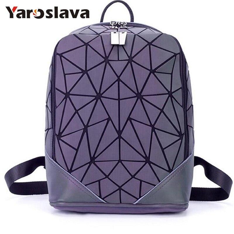 Fashion Women backpack geometric luminous backpack 2018 new Travel Bags for School Back Pack Cool Triangular backpacks LL660