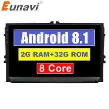 "Eunavi 2 din 9 ""Android 8.1 TDA7851 Car Radio Stereo GPS per il VW Passat B6 CC Polo GOLF 5 6 Touran Jetta Tiguan Magotan"