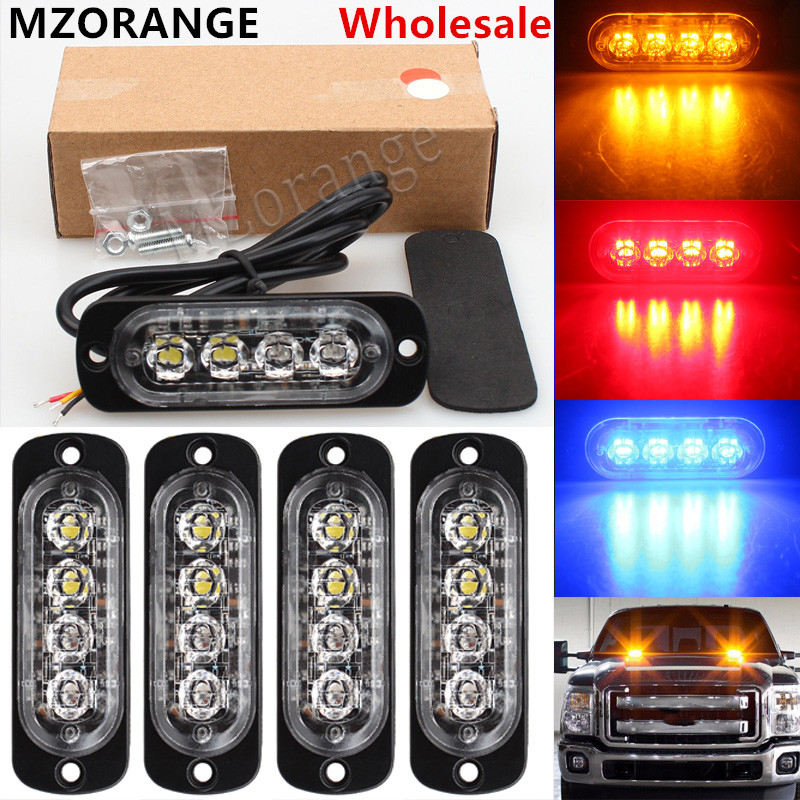 Wholesale 4 Led Strobe Warning Light Strobe Emergency Grille Flashing Light bar Truck Car Beacon Slim Bright Amber Red Blue