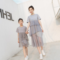 Mother & Daughter Family Look Summer 2019 New Korean Fashion Mesh Dress Matching Outfits Cotton Mommy and Me Clothes QZ092