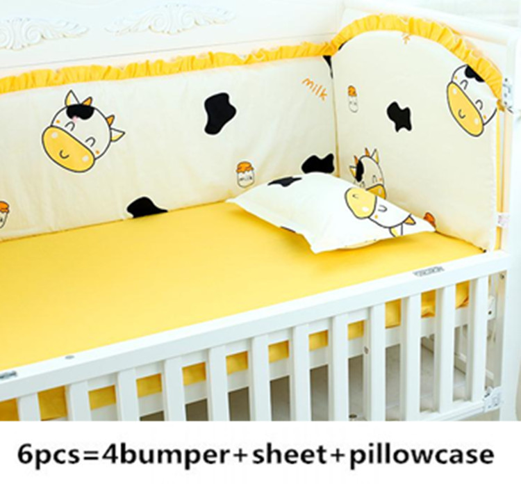 Promotion! 6PCS Cow Baby Bed Around,100% Cotton Baby Sheet Baby Crib Cot Bedding Set (4bumpers+sheet+pillow Cover)