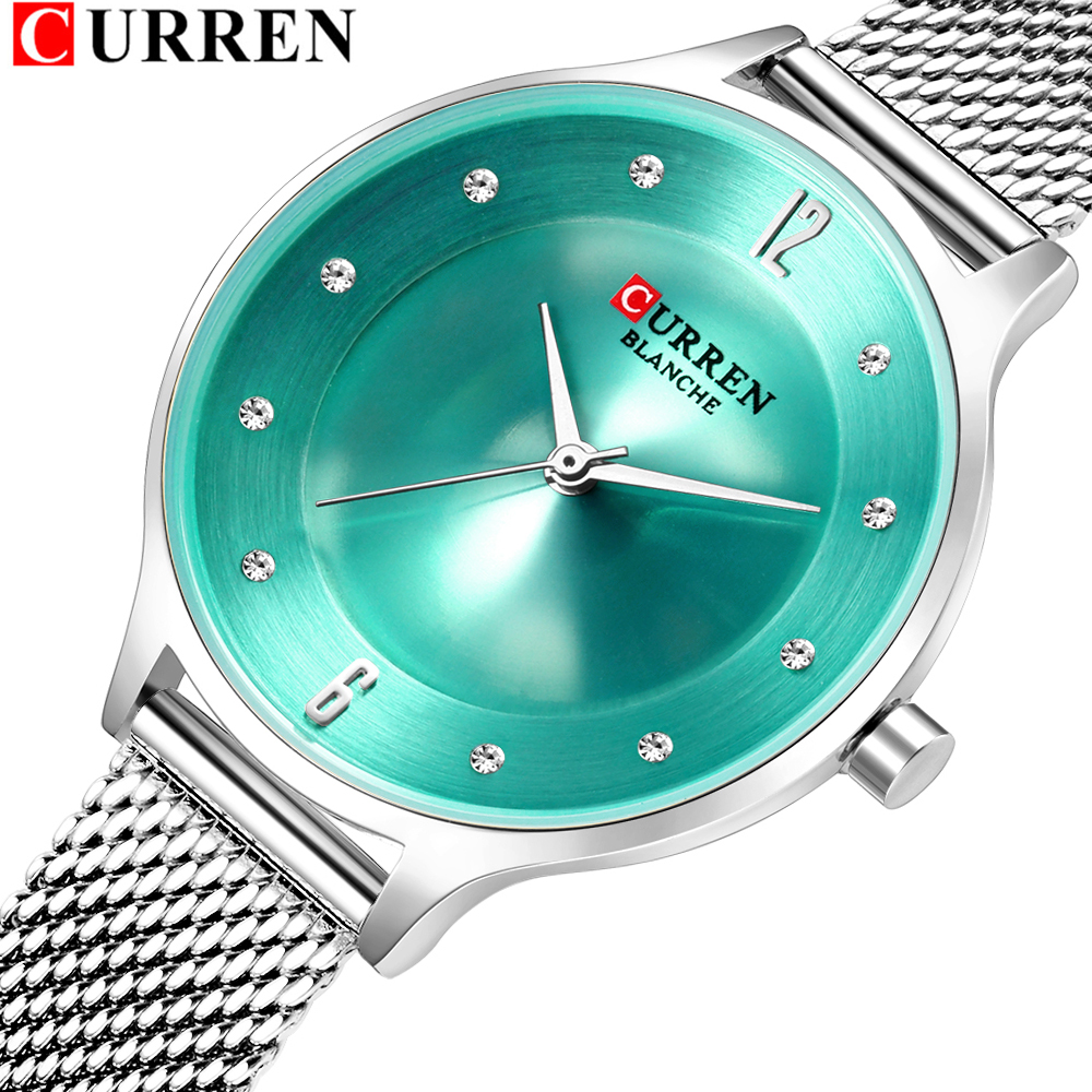 Fashion Mesh Womens Watches CURREN Ladies Dress Wristwatch With Steel Band Female Bling Rhinestone Dial Clock Relogio Feminino