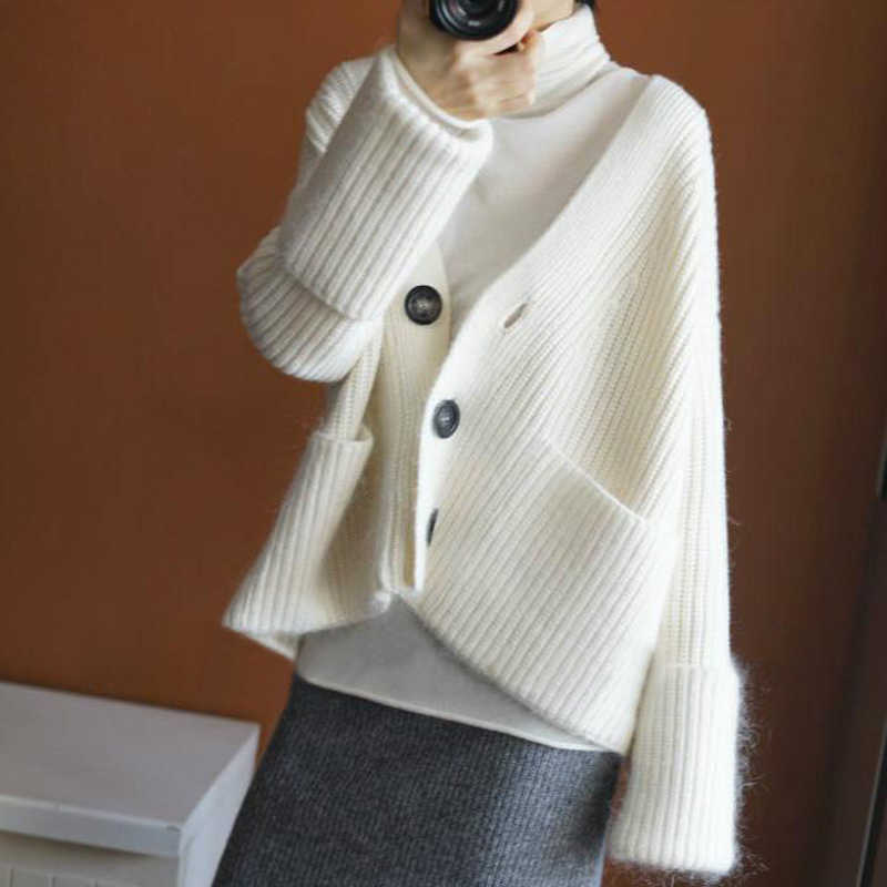 Women Sweaters Cashmere and Wool Jackets Woman Cardigans 2019 New Fashion Loose style Cashmere Knitwear Solid Standard Tops