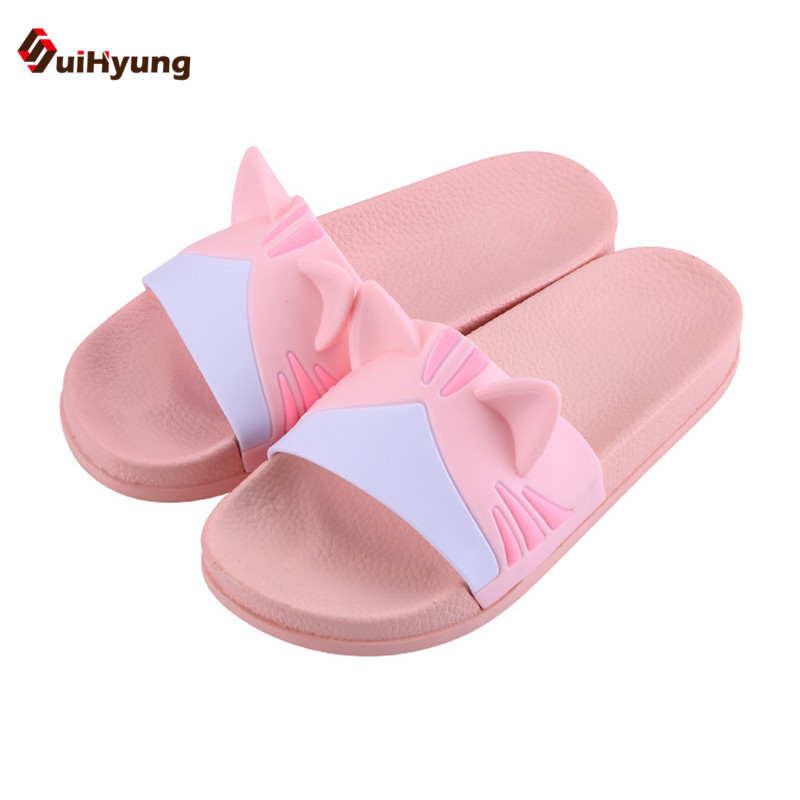 Suihyung New Women's Summer Slipper Cute Kitten Styling Home Indoor Slippers Soft-soled Non-slip Bathroom Slippers Beach Slipper suihyung design new women and men summer flat shoes hit color breathable hollow beach slippers flips non slip unisex sandals