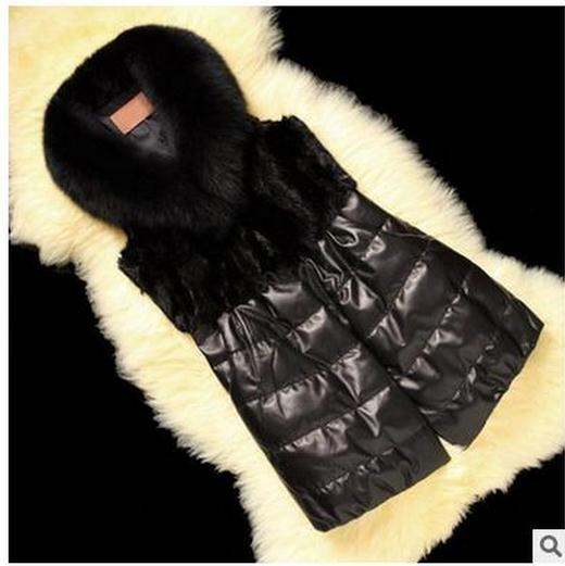 20194b6d14d 2017 женские зима-осень черный Повседневное искусственного меха без рукавов  куртки из искусственной кожи для