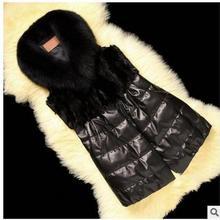 2017 Womens Winter Autumn Black Casual Faux Fur Sleeveless Jacket Pu Leather Leisure Patchwork Vests Large Size Waistcoats K05