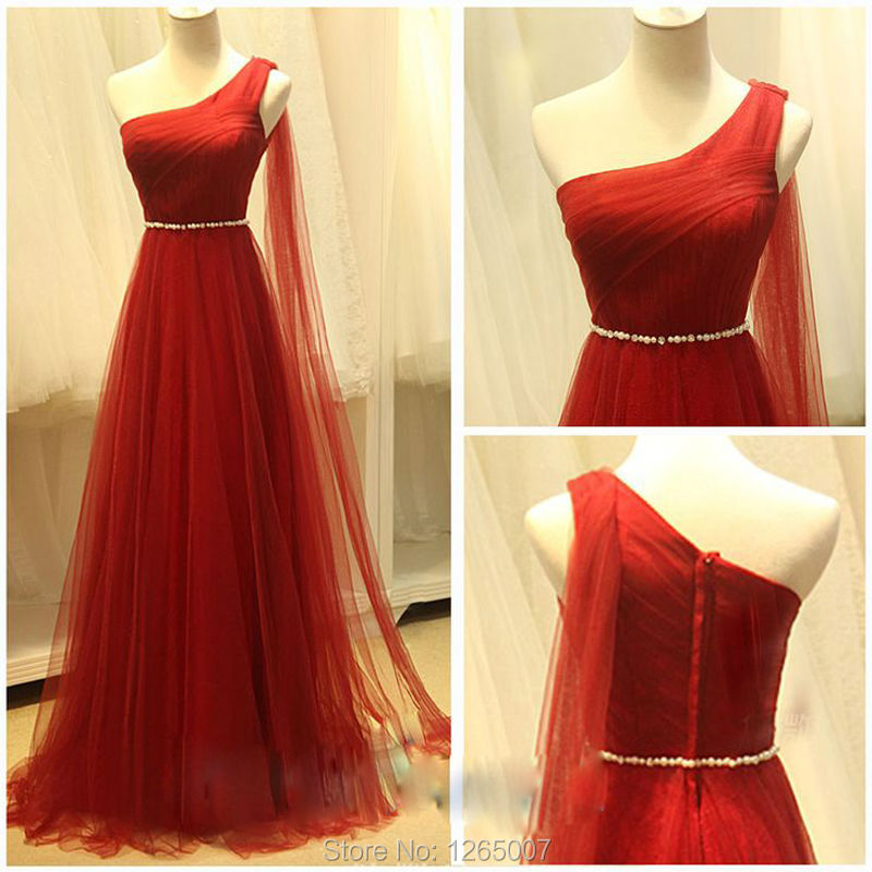 Red And White Formal Dresses: New Arrival One Shoulder Pleats Sparkly Beaded A Line