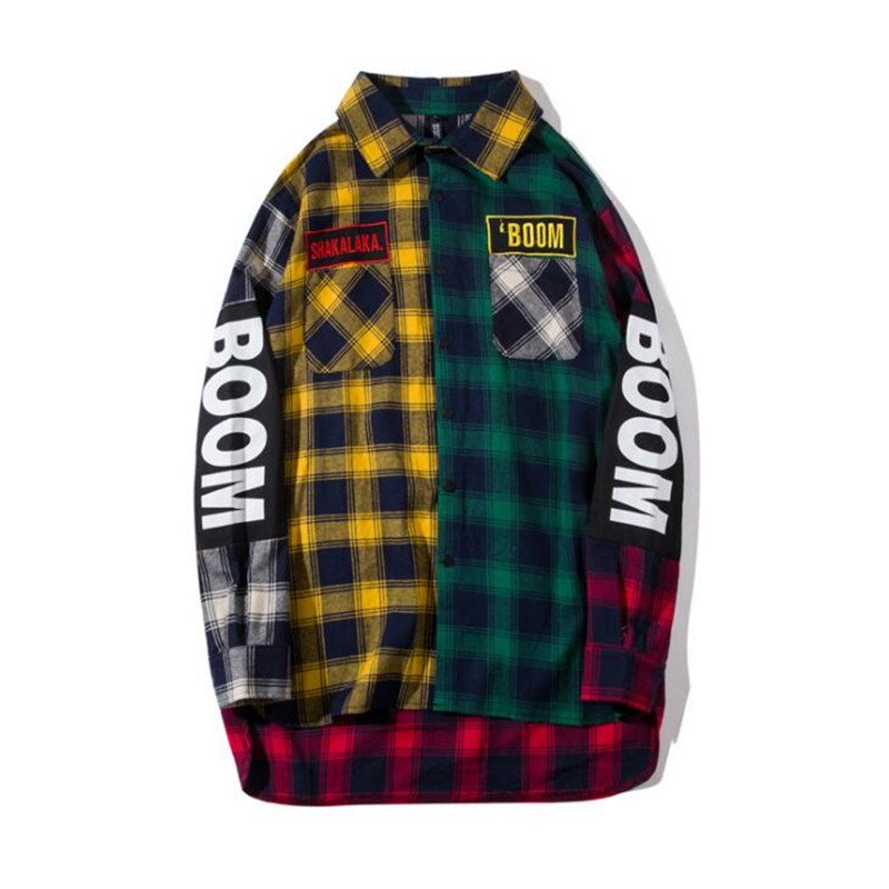 2018 Contrast plaid check Hip- Hop flannel shirt Oversize Men women pair of skateboard shirt casual chemise homme coat Man ...