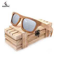 BOBO BIRD Men Vintage Square Wood Ladies Sunglasses Women Polarized UV400 Protect Coating Mirror Wood Sunglasses in Wooden Box