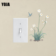 YOJA Leisurely Butterfly And Flowers Design Fashion Cartoon Plant Decal PVC Modern Classic Wall Switch Sticker 13SS0038