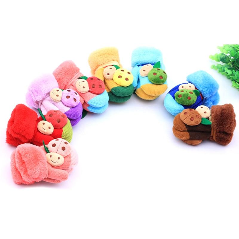 Fashion Cartoon Beetle Cotton Wool Gloves Boy Girl knitting Gloves Wnter Childrens  Rope Gloves