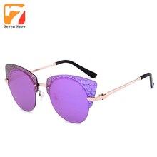 2017 de Lujo Del Ojo de Gato gafas de Sol de Las Mujeres Diseñador de la Marca de La Vendimia Gafas de Sol Para Damas Mujer Espejo Shades Gafas De Sol Feminino