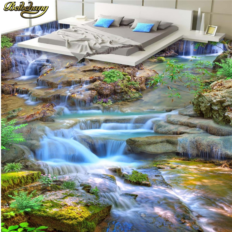 beibehang Custom floor painted wall wallpaper landscape waterfall creek 3D floor painting thickened wearable PVC floor painting beibehang custom 3d wallpapers hand painted retro nostalgic abstract oil painting flowers landscape european style wallpaper