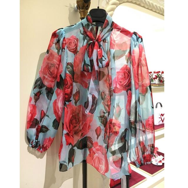 Designer Luxury Shirts for Women Lantern Sleeve Rose Printed Chiffon Blouse Tops