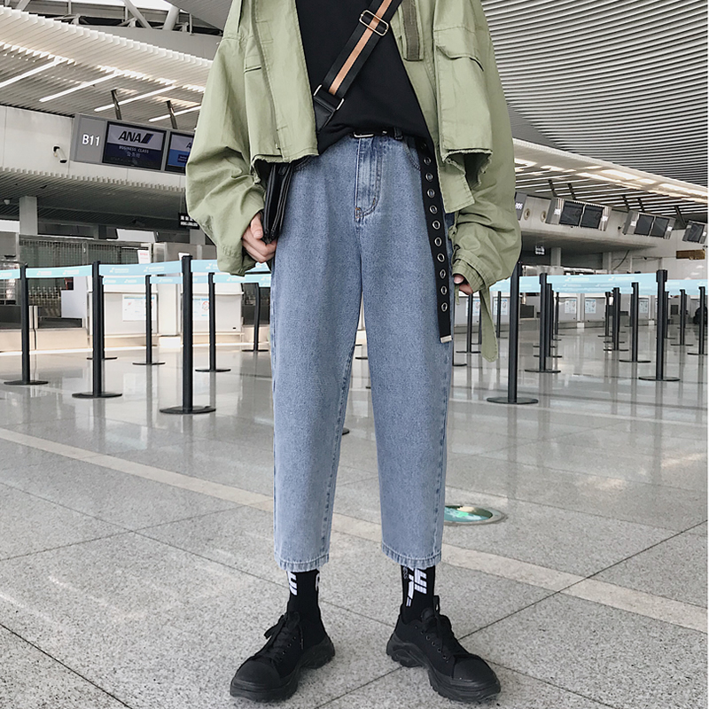 2019 Korea Style Men's Solid Color Loose Jeans Blue Stretch Casual Straight Pants Biker Denim Baggy Trousers Plus Size S-2XL