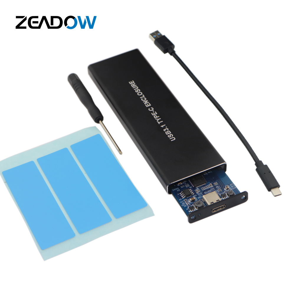 NVMe PCle M.2 SSD Enclosure USB 3.1 Gen2 Type C 10Gbps NGFF M Key SSD External Hard Disk Case For 2230 To 2280 Solid State Drive