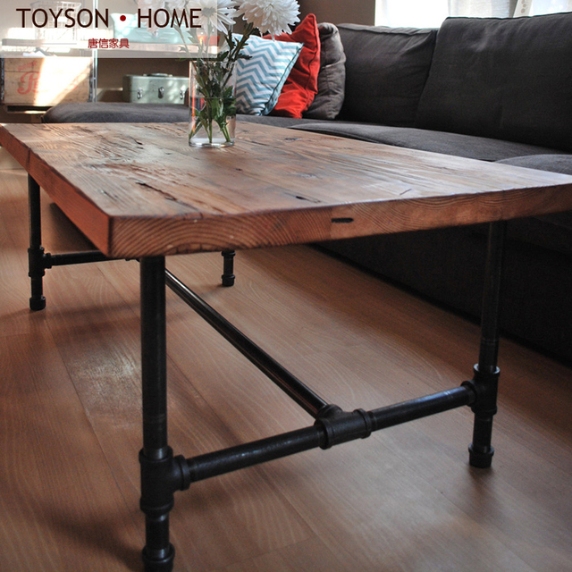 Iron pipes LOFT American country wood coffee table Nordic