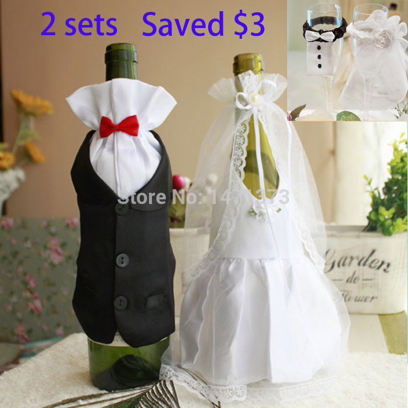 Wedding Decorations Hot Sale 2016 Hot Bride And Groom Dress Wine Glass  Champagne Bottle Decoration Wedding Patry Cover Supplies In Cups From Home  U0026 Garden ...