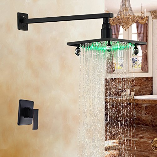 LED Light 8 Inch Rainfall Shower Faucet Single Handle Mixer Oil Rubbed Bronze