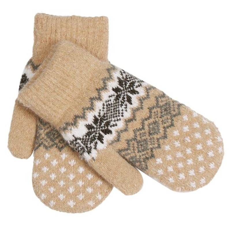 1Pair Winter Warm Knitted Gloves Christmas Jacquard Mittens Women's Snowflake Gloves