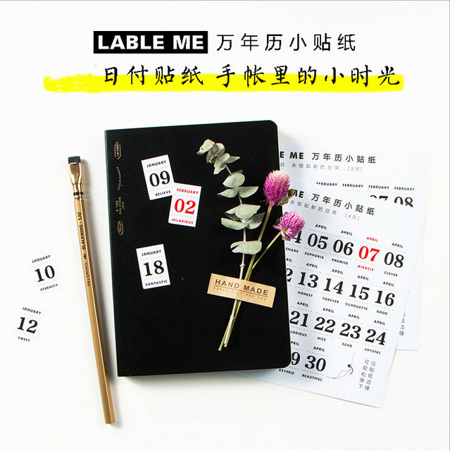 12 sheets lot perpetual lunar calendar paper sticker for planner scrapbooking decorative cute number date