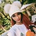 Dupla bola gorro de pele pompons chapéu do inverno quente para as mulheres chapéu da menina de malha gorros cap Chapéu de Crochê nova marca grosso feminino cap