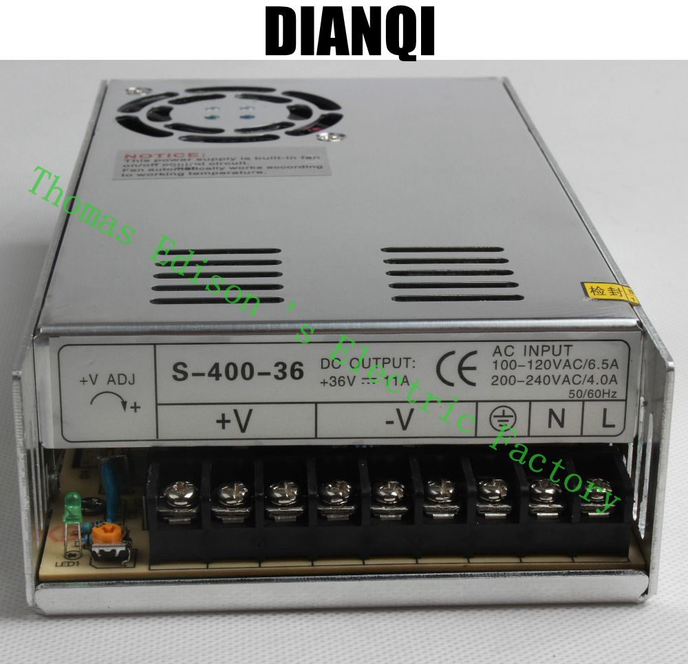 400W 36V 11A Single Output Switching power supply High Quality Power Supply 36V 400W AC to DC Power Supply  S-400-36 500w 36v single output switching power supply s 500w 36 ac to dc smps block power a class