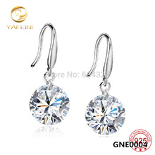 GNE0004 Wholesale Brincos Genuine 925 Sterling Silver Drop Earrings Fashion Jewelry 8mm Cubic Zircon Earrings For Women