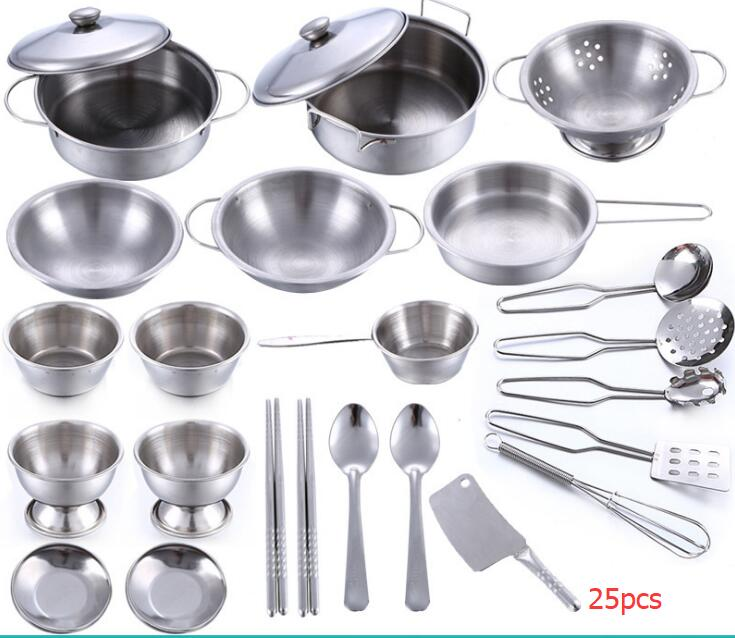 25pcs/set Stainless Steel Children Kitchen Toys Miniature Cooking Set Simulation Tableware Toy Pretend Play Cook Toy For Kids Gi Pretend Play Toys & Hobbies