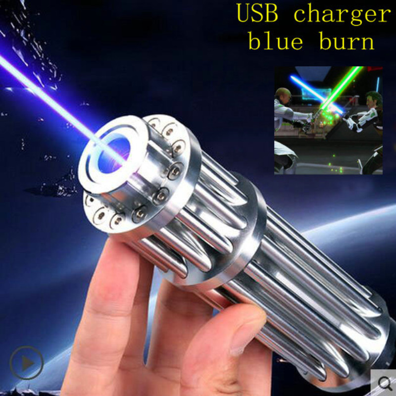 JSHFEI USB pointeur Laser 445nm classe IV puissant lampe de poche Laser Gatling batterie intégrée allumette/brûlure/bougie/500000 m