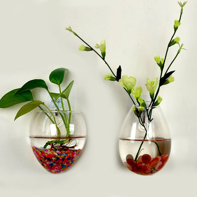Wall Glass Terrarium Water Plants Clear Indoor Hanging Vase