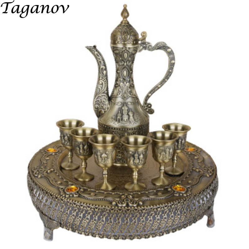 gifts Eight-Piece Wine set European Retro Alloy Liqueur set Russian Palace Style Sip Cup goblet Spirit Wine Pot Flagon With Traygifts Eight-Piece Wine set European Retro Alloy Liqueur set Russian Palace Style Sip Cup goblet Spirit Wine Pot Flagon With Tray