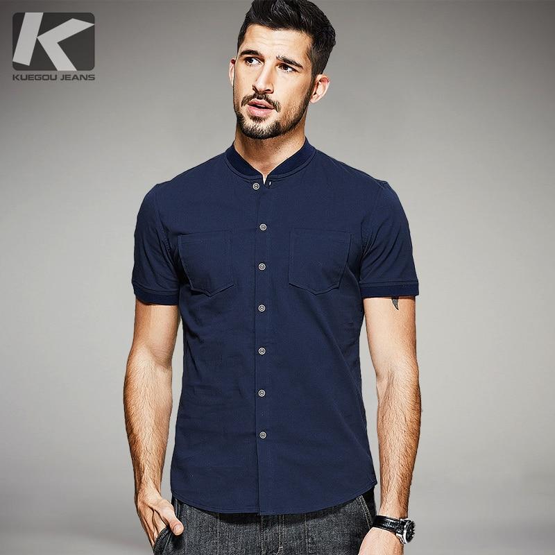 Best buy ) }}KUEGOU New Summer Mens Casual Shirts Pockets Blue