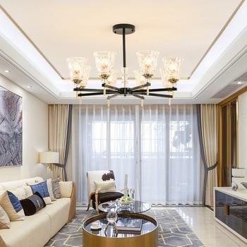 Moderne LED kronleuchter wohnzimmer ausgesetzt lampe glas ...