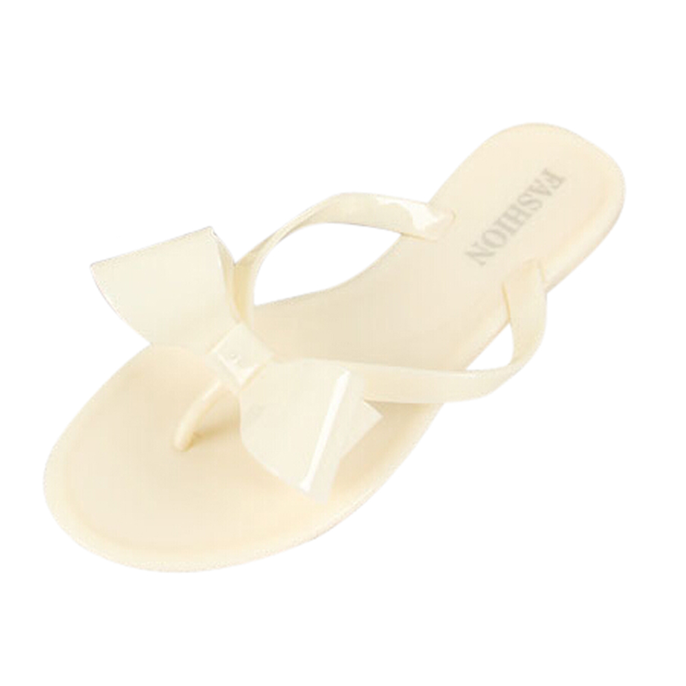 купить ABDB Women's Sandals Summer Beach fashion women's bow flat heel flip flops beach slippers flip female shoes size6 beige недорого