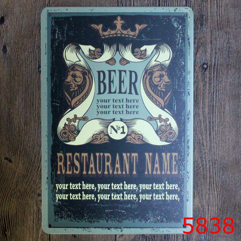30X20CM Restaurant Name Vintage Home Decor Tin Sign Wall Decor Metal Sign  Vintage Art Poster Retro