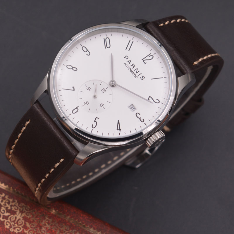 Parnis 42mm watch  white dial calendar Seagull Movement   parnis Automatic mechanical men watch  PN610 40mm parnis white dial vintage automatic movement mens watch p25