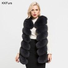 JKKFURS 2019 New Real Fox Fur Long Vest Autumn Winter Warm 6 Rows Gilet Women Casual Soft Waistcoat Fashion Wholesale S7167