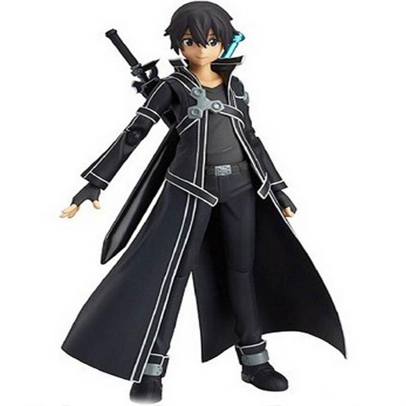 14cm Anime Sword Art Online kirigaya kazuto Figma S.A.O Kirito PVC Action Figure Model Doll Toys For Kids Gifts