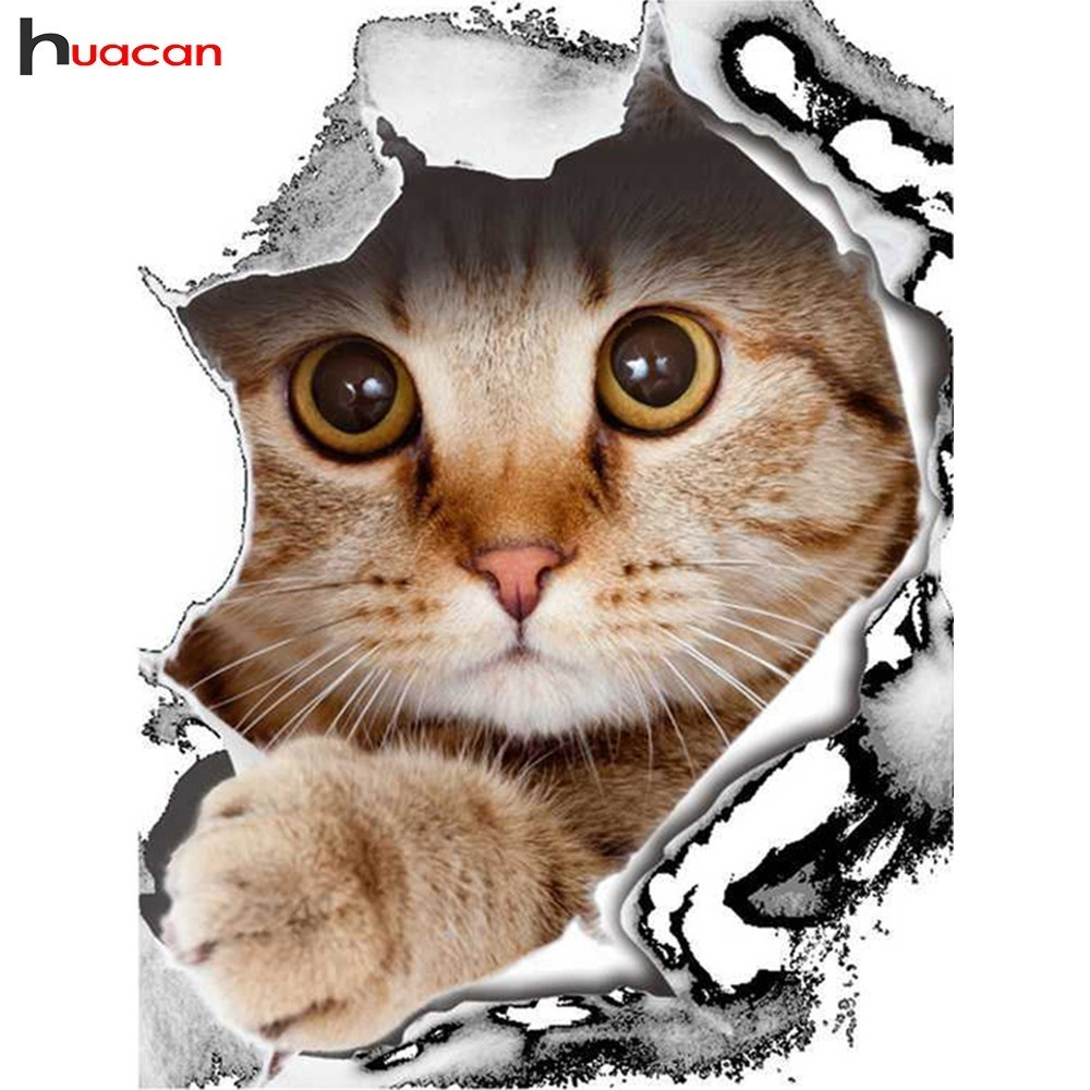 HUACAN Full Square/Round Drill Diamond Embroidery Animals Mosaic Cross Stitch 5D DIY Diamond Painting Cat Decoration HomeHUACAN Full Square/Round Drill Diamond Embroidery Animals Mosaic Cross Stitch 5D DIY Diamond Painting Cat Decoration Home