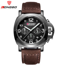 LONGBO mens watches top brand luxury quartz watch men chronograph leather military waterproof sport watches relogio masculino