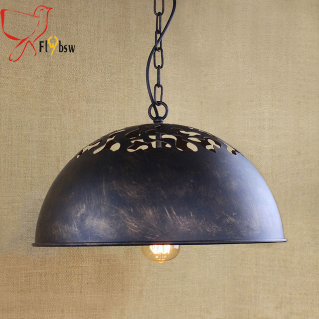 Us 103 0 American Style Iron Chain Pendant Lamp Dia 40cm Black Rusty Hollow Metal Lampshade Vintage Hanglamp Light Fixtures In