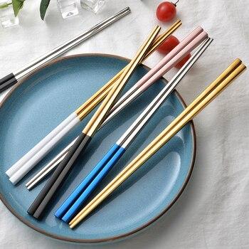 1PC złoty srebrny ze stali nierdzewnej stalowa słomka pałeczki Korea styl kuchnia wysokiej jakości akcesoria gastronomiczne jedzenie makaron zastawa stołowa Hashi