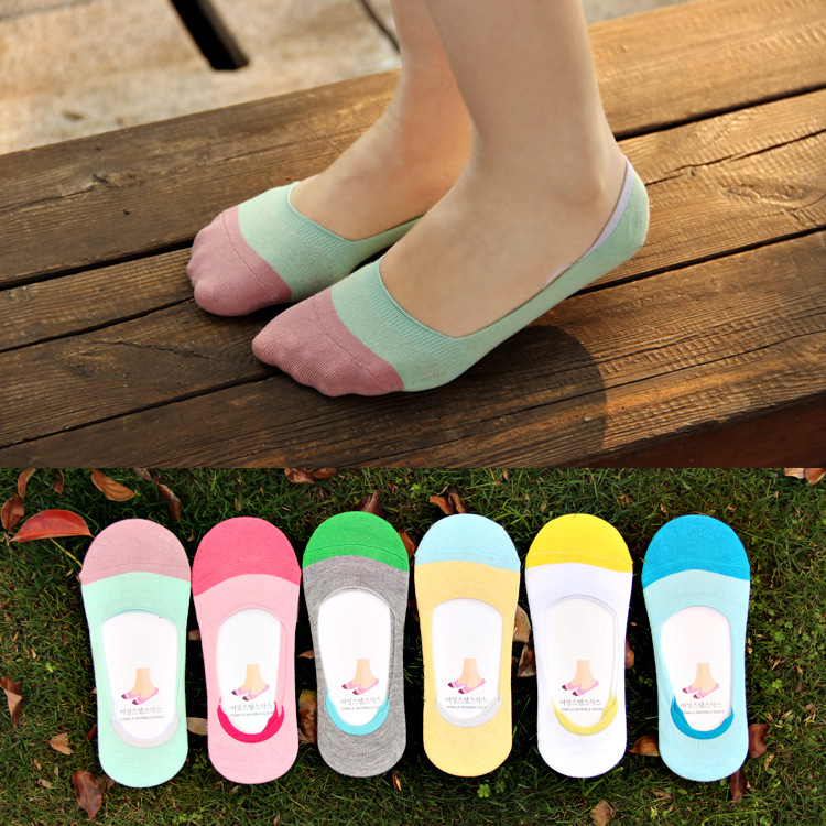 2016 10pieces=5pair NEW Ms summer ankle socks women candy color silicone antiskid invisible socks Cotton socks Japanese