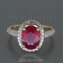 3.12ct твердое 14Kt желтое золото рубиновое обручальное кольцо, бриллиантовое натуральное красное рубиновое кольцо на продажу R0014