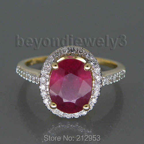 3.12ct Solid 14Kt Yellow Gold Ruby Wedding Ring, Diamond Natural Red Ruby Ring For Sale R0014 vintage solid 14kt yellow gold natural diamond two engagement wedding band ring for women fine jewelry anniversary gift r0014